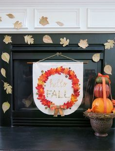 easy brown paper leaves add just the right touch to finish fall mantle, crafts, fireplaces mantels, seasonal holiday decor