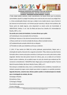 Programa Maranhão Profissional 2014: ETAPA PRÉ-VESTIBULAR - PLANO B - FILOSOFIA - ATIVI...