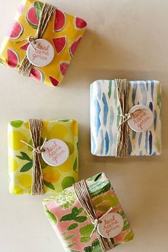 handmade soap in a pretty wrap with twine and a round tag