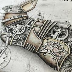 Detail shot.  #illustration #steampunk #antique #vintage #art