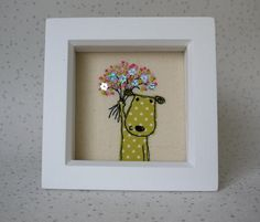 Celebration Puppy Handmade Embroidered Picture. Lime Spotted Puppy with bouquet. Gift idea birthday, new baby, new home