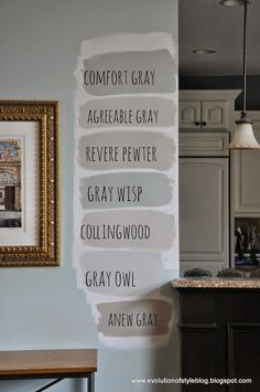 Often suggested: Agreeable Gray, Revere Pewter and Anew Gray Interior Paint Colors, Paint Colors For Home, House Colors, Paint Colours, Living Room Paint Colors, Garage Paint Colors, Light Grey Paint Colors, Light Gray Walls, Nursery Paint Colors