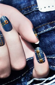 Denim nail art via THEN AND NOW