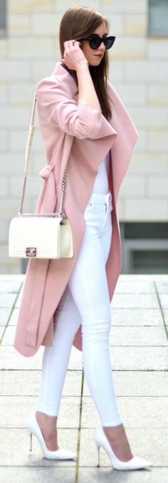 Blush pink + spring + gorgeous coat + all white outfit + Barbora Ondrackova + statement of femininity and grace  Shirt: Acne, Jeans: Mango, Coat: Missguided, Heels: Topshop, Bag: Chanel.
