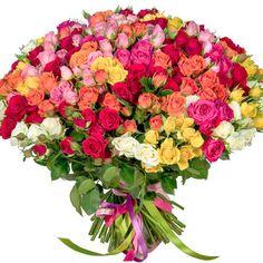 101 разноцветная кустовая роза  – заказать в Украине