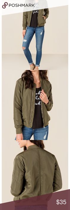 NWT green bomber New with tags (in original online order bag/packaging) olive green bomber jacket. The picture is a replica of th exact same jacket, but the actual one you would receive is new in the packaging still. Size xs from francescas. Very warm and cozy - perfect for winter! Francesca's Collections Jackets & Coats
