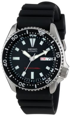 Seiko Men's SKX173 Stainless Steel and Black Polyurethane Automatic Dive Watch