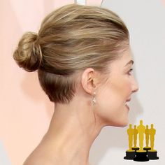 Oscars The Best Red Carpet Updos - Rosamund Pike - click through to see more hair inspiration! Pompadour Hairstyle, Undercut Hairstyles, Short Bob Hairstyles, Celebrity Hairstyles, Pretty Hairstyles, Hairstyles 2018, Badass Haircut, Grey Hair Care, Undercut Long Hair