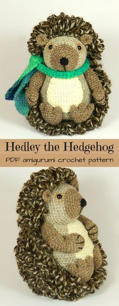 Hedley the Hedgehog crochet amigurumi toy pdf pattern to download. Adorable hedgehog doll to crochet. Look at his perfect little scarf! #etsy #ad