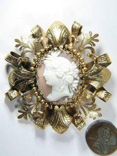 Fab Antique Ornate Gilt Shell Cameo Pin Flora C1870 | eBay