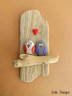 Owl Lovers - Shore things by Kate Dengra (Owl Pebble art)