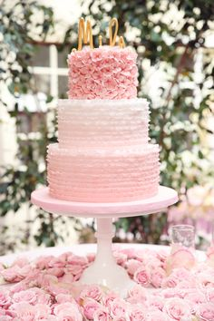 Perfectly feminine baby shower cake! Pink + Gold is the perfect color combo for a baby shower! Dear Mila..{A Pretty in Pink Baby Shower} by Melody Melikian Photography