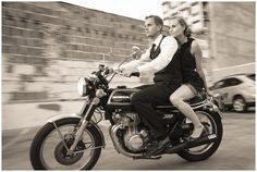 I love this urban engagement photo session. The motorcycle was awesome.