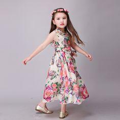 bf5aa704b US $30.23 |Aliexpress.com : Buy Cute 2016 Summer Floral Print Baby Girls  Beach Dresses Party Draped Sashes Dress Kids Toddler Clothes Princess  Vestidos De ...