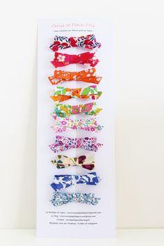 Image of 10 barrettes Noeud Liberty motifs et Coloris Aléatoires - EN STOCK