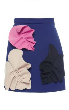 Navy Double Crepe Mini Skirt by MSGM for Preorder on Moda Operandi