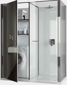Compact Laundry / Shower Cabin Combo for Small Spaces by Vismaravetro. Another item Anita. :) Compact Laundry / Shower Cabin Combo for Small Spaces by Vismaravetro. Another item Anita. Tiny House Bathroom, Laundry In Bathroom, Small Bathroom, Laundry Area, Laundry Cupboard, Modern Bathroom, Kitchen Small, Master Bathroom, Laundry Cabinets