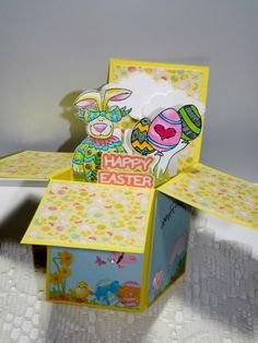 Happy Easter Pop-Up Box - Open by kraftyaunt - Cards and Paper Crafts at Splitcoaststampers