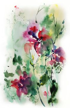 Abstract Flowers Watercolor Painting Art Print, Pink Green Floral Art Modern Abstract Wall Art