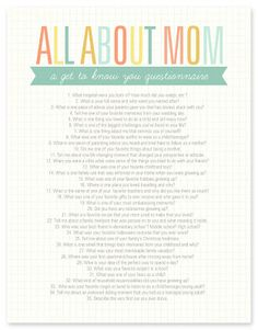 All About Mom {printable questionaire}
