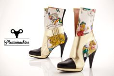 Pleasemachine exclusive High Heels made of vintage silk scarf. Shoe model Merry-Go-Round featuring pretty horses, wild animals and gold leather. Recycling and environmentalism commitments.