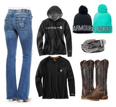 """Country Girl"" by farmgirl3010 on Polyvore featuring True Religion, Carhartt, Under Armour, Ariat, BKE and country"