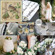 Partridge in a Pear Tree Wedding Inspiration | SouthBound Bride | Full credits & links: http://www.southboundbride.com/inspiration-board-partridge-in-a-pear-tree