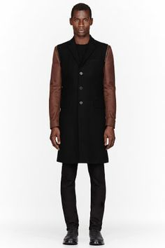 Givenchy Black Contrast Sleeve Zip-trimmed Coat for men | SSENSE want u