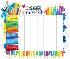 Elementary School Timetable Template and Software - Employee Template and Software Class Schedule Template, Timetable Template, After School Schedule, Class Timetable, Back To School, Middle School, Birthday Charts, School Labels, School Routines
