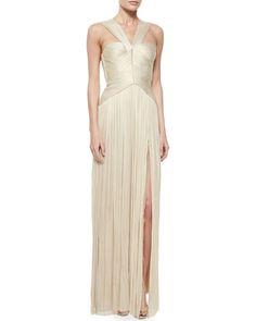 Maria Lucia Hohan Sleeveless V-Neck Grecian Gown, Gold Metallic Bridesmaid Dresses, Prom Dresses, Formal Dresses, Wedding Dresses, Grecian Gown, White Evening Gowns, Dream Dress, Pink Dress, Designer Dresses
