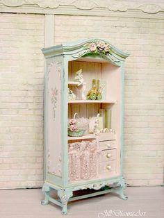 Custom  Shabby Chic Francés Cottage Rose De Hadas Gabinete   Rosas  Esculpidas