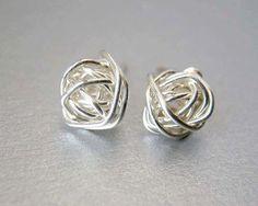 Stud Earrings Sterling Silver Earrings Silver by deezignstudio
