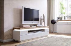 TV - Lowboard Silke II mit LED - Beleuchtung Asteiche Massivholz in Kombination mit Weiß 1 x TV - Lowboard inklusive effektvoller LED Beleuchtung  unter der 6 cm massiven Oberplatte...