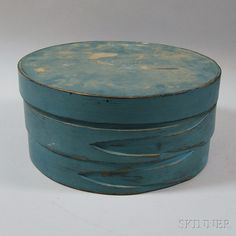 Blue-painted Covered Pine Box | Sale Number 2664M, Lot Number 1198 | Skinner Auctioneers