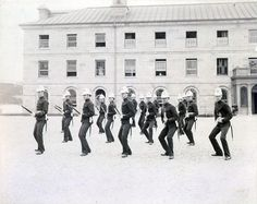 Royal Military College of Canada cadets drill in Military parade square, in front of Stone Frigate. 1880s [550x436]history-museum.tumblr.com