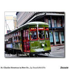 St. Charles Streetcar in New Orleans, LA Postcard