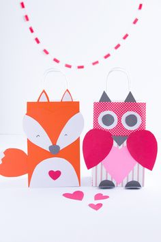 Step up your treat and gift bag game this Valentine's Day with these DIY Valentine Treat Bag Ideas. Learn how to make a fox and owl treat bag!