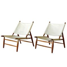 rare pair of canvas triangle chairs - vilhem wohlert - denmark - 1950s - height: 31.5 in. (80 cm)  second height: 12.75 in. (32 cm)  depth: 36 in. (91 cm)  width/length: 24 in. (61 cm) - via home anthology