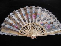 Vintage Ladies Hand Fans | Lace and Floral Hand Fan, Victorian Decorative Ladies Vintage Fan