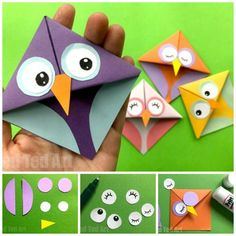 Easy Owl Origami Bookmark Design Easy Owl Origami Bookmarks – learn how to make origami bookmark owls. Adorable Paper Owl Bookmarks based on the traditional easy Origami Bookmark Corner pattern! Design Origami, Instruções Origami, Basic Origami, Origami Modular, Origami Fish, How To Make Origami, Useful Origami, Origami Ideas, Origami Boxes