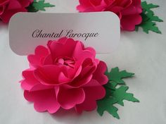 Place Card Holders Handmade Paper Flower by DragonflyExpression
