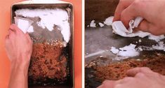 Rid your best brownie pan of stubborn baked-on batter with two simple ingredients: Hydrogen peroxide and baking soda. 15 Ways To Clean The Stuff You Have No Idea How To Clean You Have No Idea, Fun To Be One, Baking Pans, Baking Soda, K Cup Holders, Clean Mama, Brownie Pan, Grease Stains, Front Load Washer