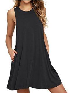 VIISHOW Women's Sleeveless Pockets Casual Swing T-shirt Dresses - $12.98