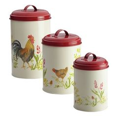 Store dry goods in charming style with the Paula Deen Pantryware 3 Piece Garden Rooster Food Storage Canister Set featuring three lidded canisters in. Food Canisters, Kitchen Canister Sets, Coffee Canister, Storage Canisters, Jar Storage, Kitchenware, Flour Canister, Sugar Canister, Storage Ideas