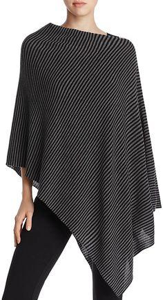 Eileen Fisher Asymmetric Striped Merino Wool Poncho