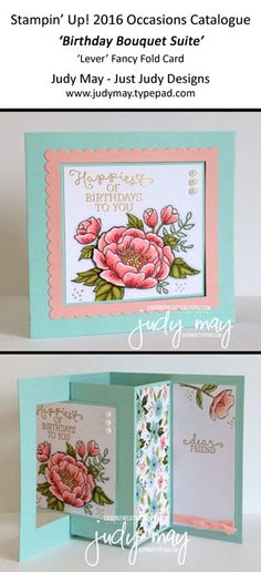 Stampin' Up! Birthday Blooms 'Lever' card for CASE-ing the Catty - Judy May, Just Judy Designs