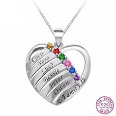 1aba1dc76e Customized Heat 6 Birthstones & Names Engraving Platinum Plated 925  Sterling Silver Necklace