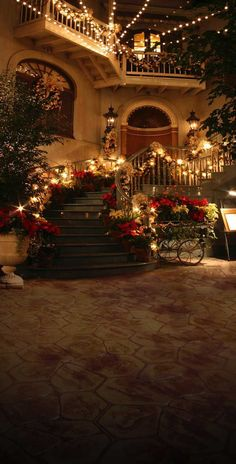Christmas Holiday Night Staircase Backdrop - 200 We offer our photography backdrops in many material options with thousands of styles to choose from. Read below for more details on each of the materials we offer. DURA DROPS AND. Cozy Christmas, Christmas Holidays, Christmas Decorations, Holiday Decorating, Porch Decorating, Stage Decorations, Victorian Christmas, Outdoor Christmas, Decorating Ideas