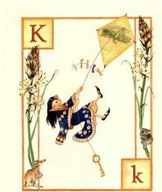 The Letter K by Lauren Mills. Fantasy art illustration taken from the elf alphabet book 'Elfabet' Claude Monet, Vincent Van Gogh, Go Fly A Kite, Alphabet Book, Alphabet Cards, Alphabet Letters, Letter K, Flower Fairies, Children's Book Illustration