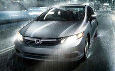 Civic car in rain